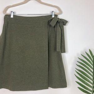 LOFT Olive Green High Rise Mini Wrap Skirt Size L